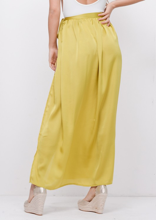 Satin Tie Waist Wrap Maxi Skirt Green