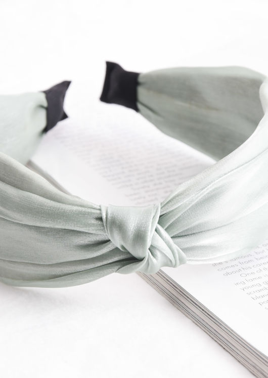 Satin Twist Knot Headband Green
