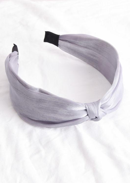 Satin Twist Knot Headband Grey