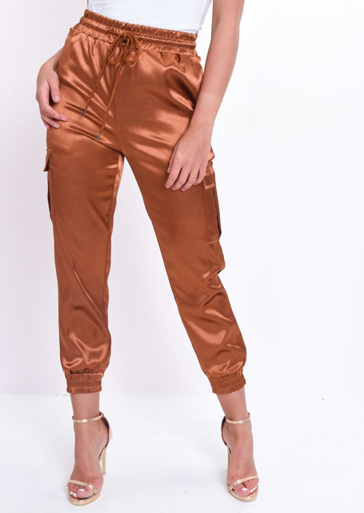 Satin Utility Drawstring Jogger Trousers Camel Brown