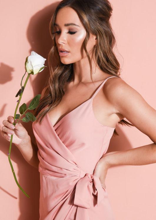 Satin Wrap Over Midi Dress Blush Pink