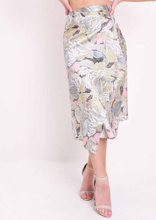 Satin Wrap Over Palm Print Midi Skirt Multi