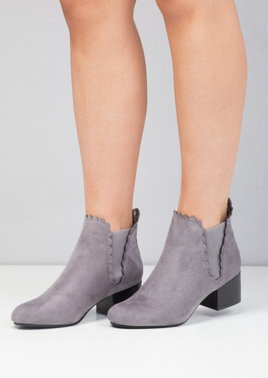 Scallop Trim Faux Suede Ankle Boots Grey