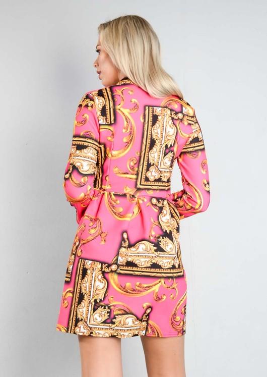Scarf Print Button Front Blazer Dress Pink