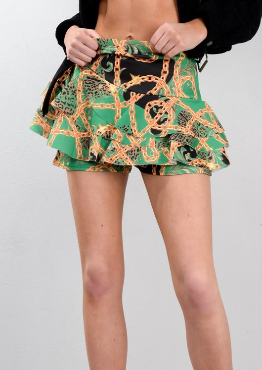 Scarf Print Layered Frill Mini Skort Green