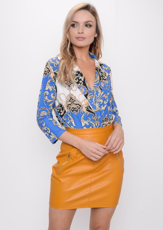 Scarf Print Shirt Bodysuit Blue