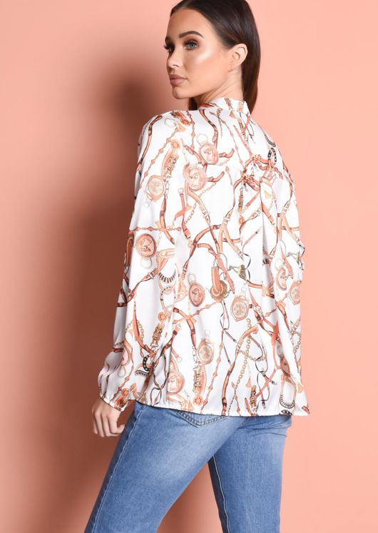 Scarf Print Tie Neck Blouse White