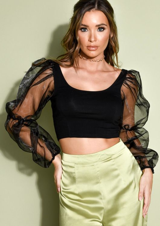 Scoop Neck Puff Long Sleeve Crop Top Black