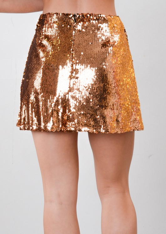 Sequin A-Line Mini Skirt Gold