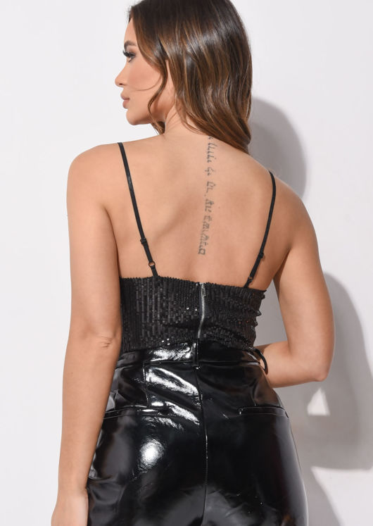 Sequin Cup Detail Strappy Crop Top Black
