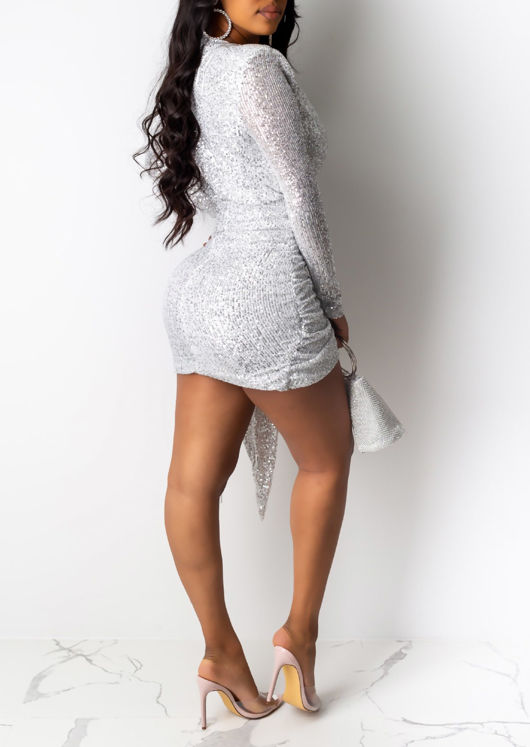 Sequin Deep V Neck Long Sleeve Ruched Bodycon Dress Silver