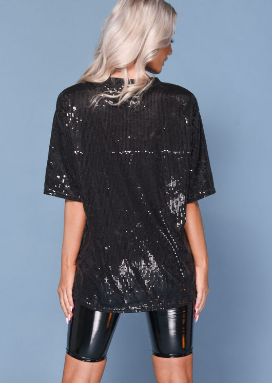 Sequin Detail Crew Neck T-Shirt Black