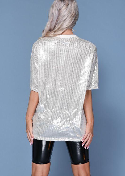 Sequin Detail Crew Neck T-Shirt Beige