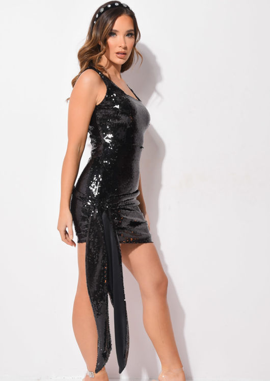 Sequin Drape Mini Bodycon Dress Black