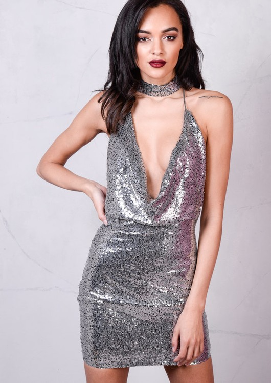 Sequin Draped Halterneck With Choker Bodycon Mini Dress Metallic Silver