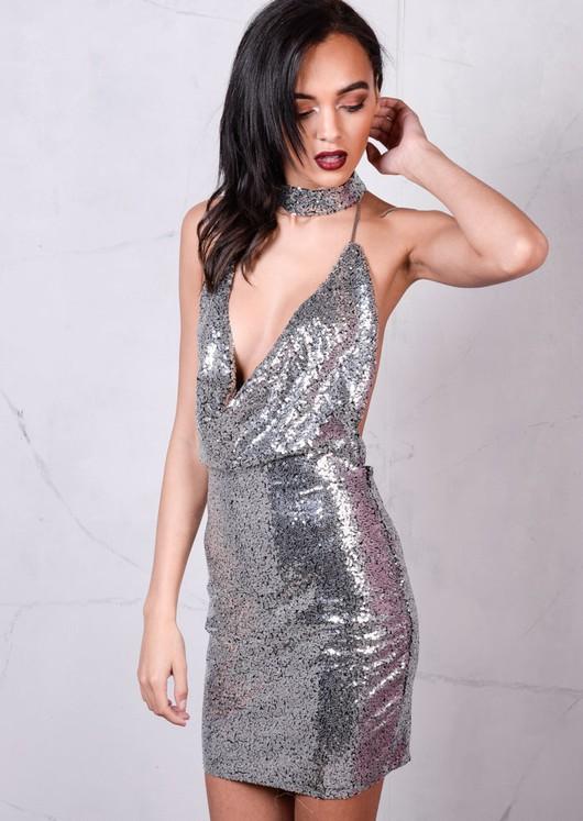 Sequin Draped Halterneck With Choker Bodycon Mini Dress Metallic Silver