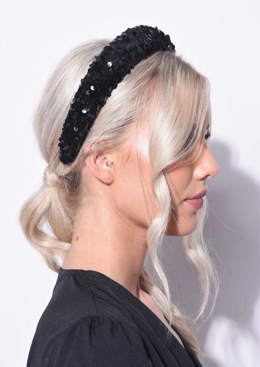Sequin Embellished Padded Velvet Headband Black
