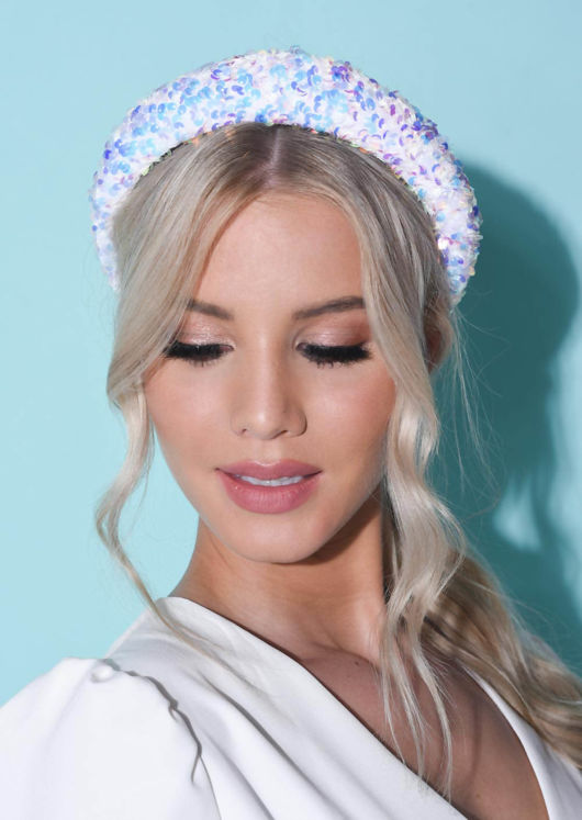 Sequin Embellished Padded Velvet Headband White