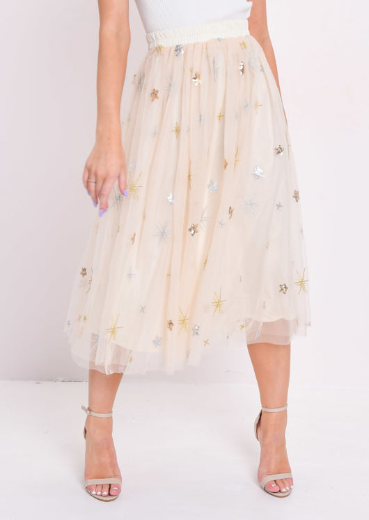 Sequin Embellished Tulle Midi Skirt Beige by Lily Lulu Fashion