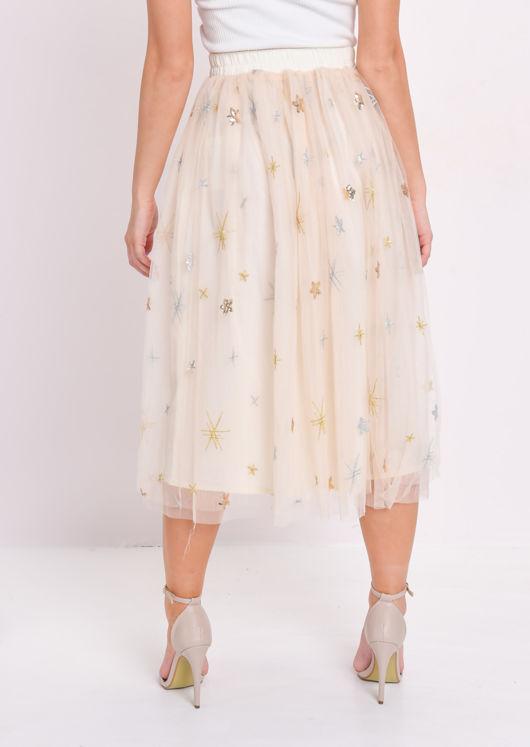 Sequin Embellished Tulle Midi Skirt Beige
