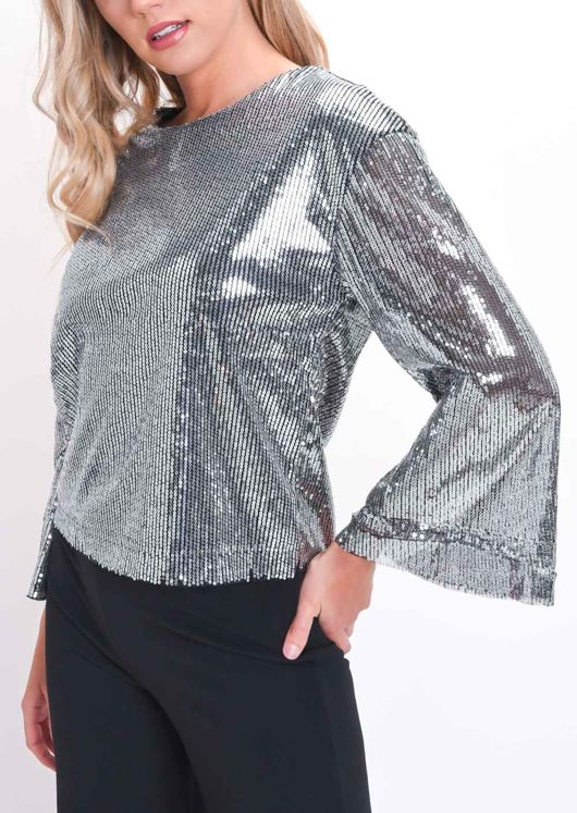 Sequin Flared Sleeves Top Silver