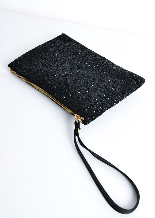 Sequin Glitter Clutch Bag Black