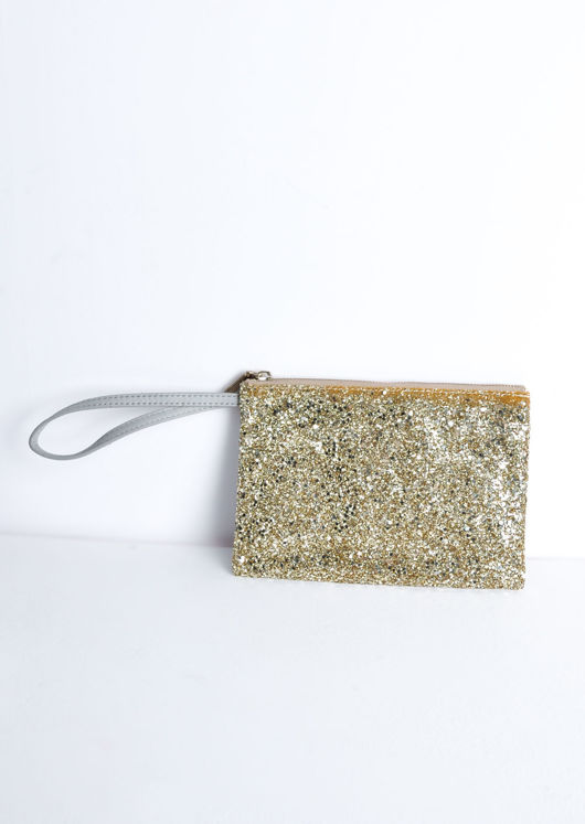 Sequin Glitter Clutch Bag Gold