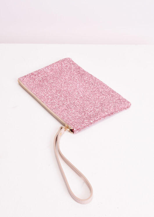 Sequin Glitter Clutch Bag Pink