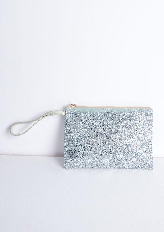 Sequin Glitter Clutch Bag Silver