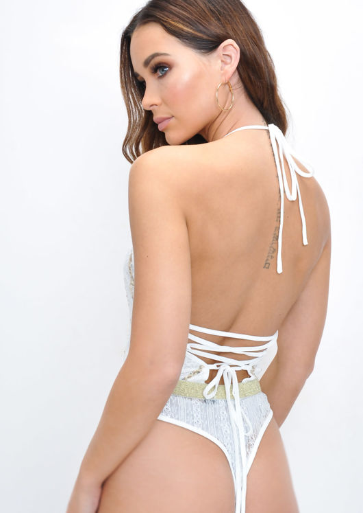 Sequin Gold Stripe Lace Halterneck Bodysuit White