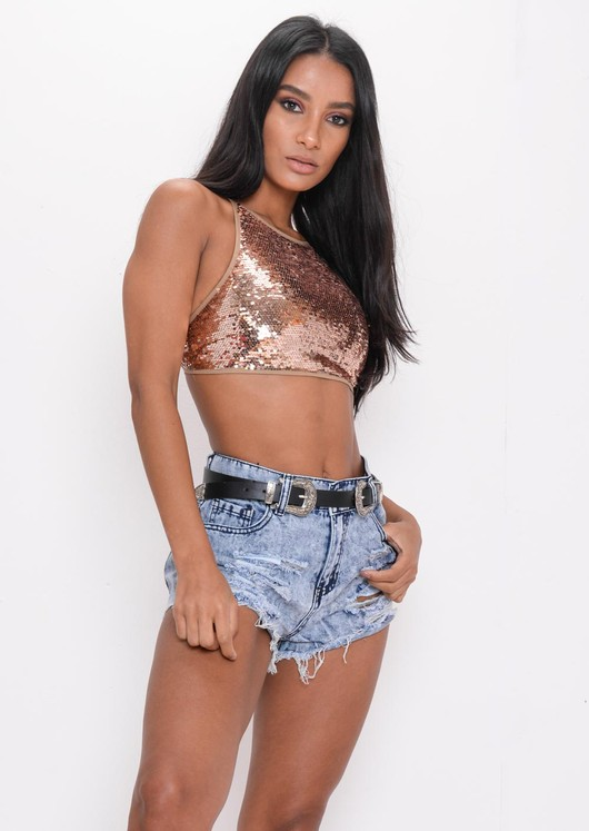 Sequin Halterneck Backless Crop Top Gold