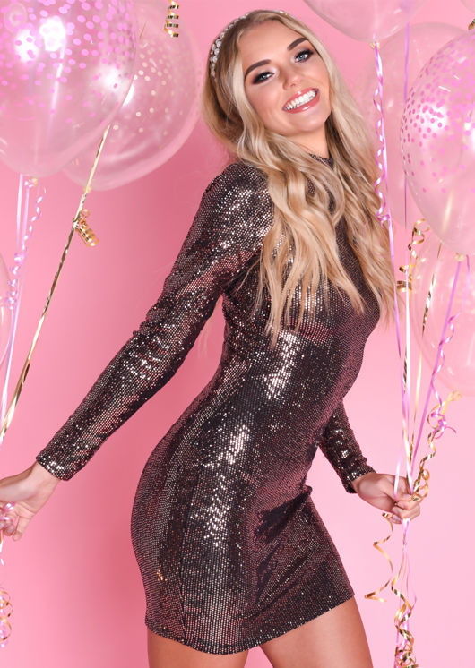 Sequin High Neck Bodycon Mini Dress Rose Gold