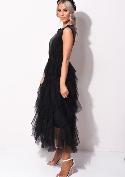 Sequin Layered Tulle Ruffle Maxi Dress Black
