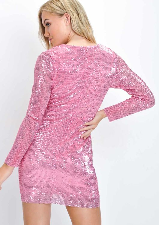 Sequin Wrap Front Ruched Mini Dress Pink