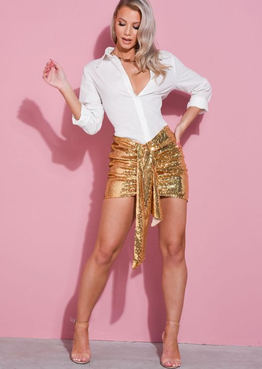 Sequin Ruched Knot Detail Mini Skirt Gold