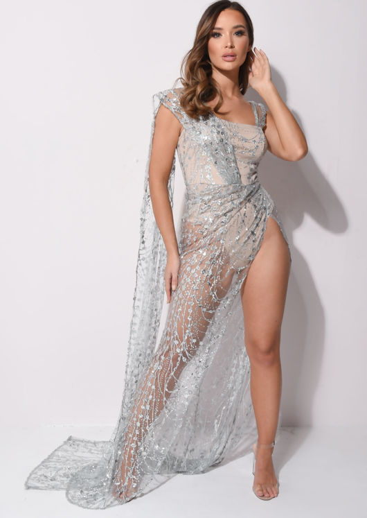 Sequin Body Overlay Maxi Dress Gown Silver