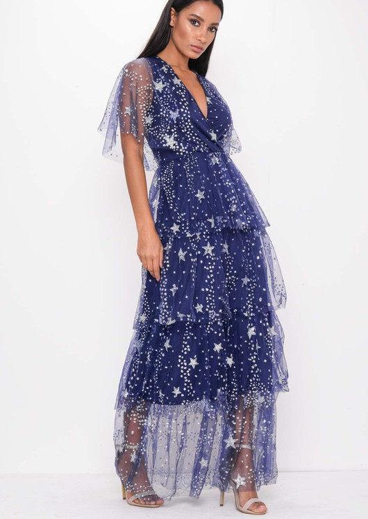 Sequin Star Tiered Frill Mesh Maxi Dress Blue