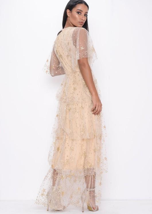 Sequin Star Tiered Frill Mesh Maxi Dress Beige