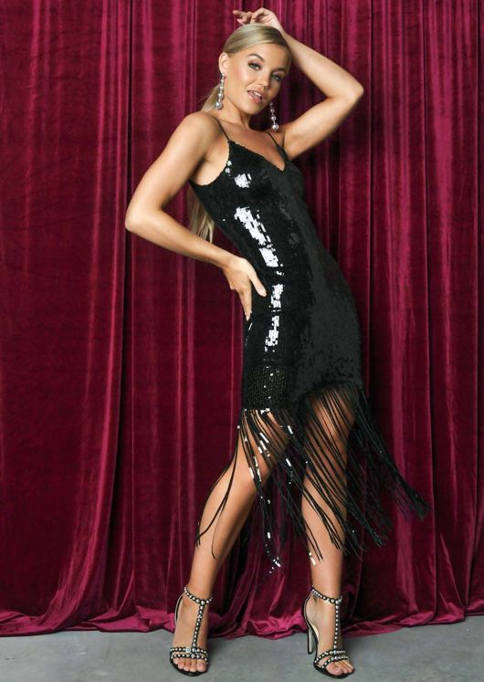 Sequin Strappy Fringe Hem Mini Dress Black
