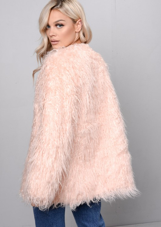 Shaggy Faux Fur Jacket Coat Pink