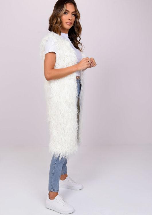 Shaggy Faux Fur Longline Sleeveless Gilet White