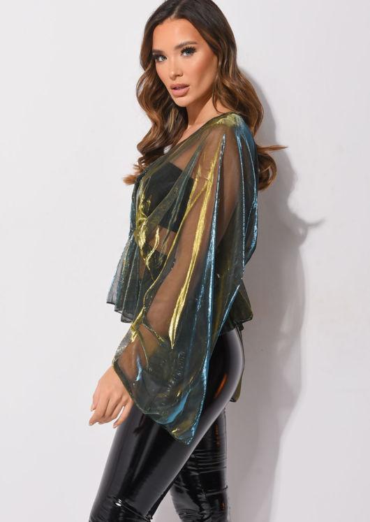 Organza Batwing Sleeves Shirred Waist V Neck Top Shiny Blue