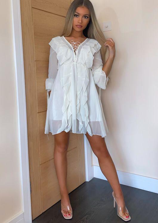 Sheer Frill Lace Up Mini Dress White
