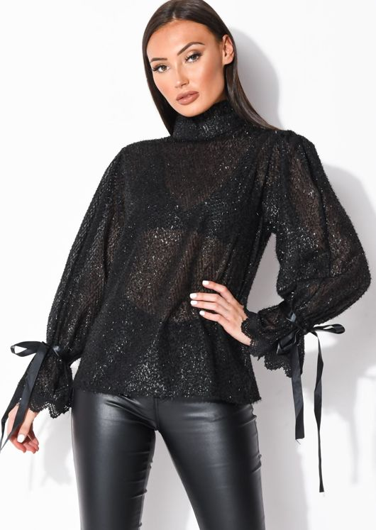 Sheer Frill Sleeve Tinsel Blouse Top Black