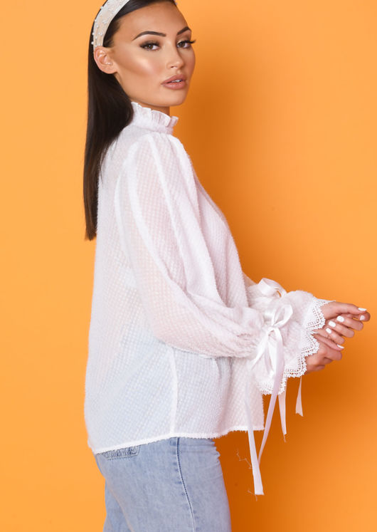 Sheer Frill Sleeve Tinsel Blouse Top White