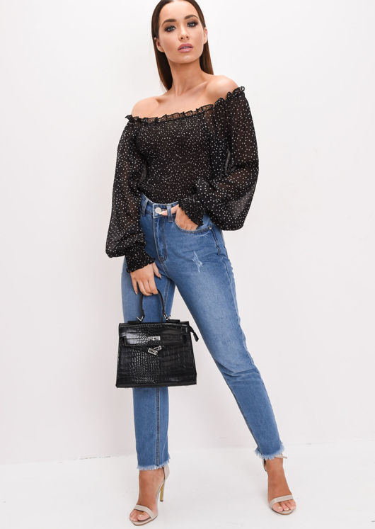 Sheer Polka Dot Shirring Crop Bardot Blouse Black