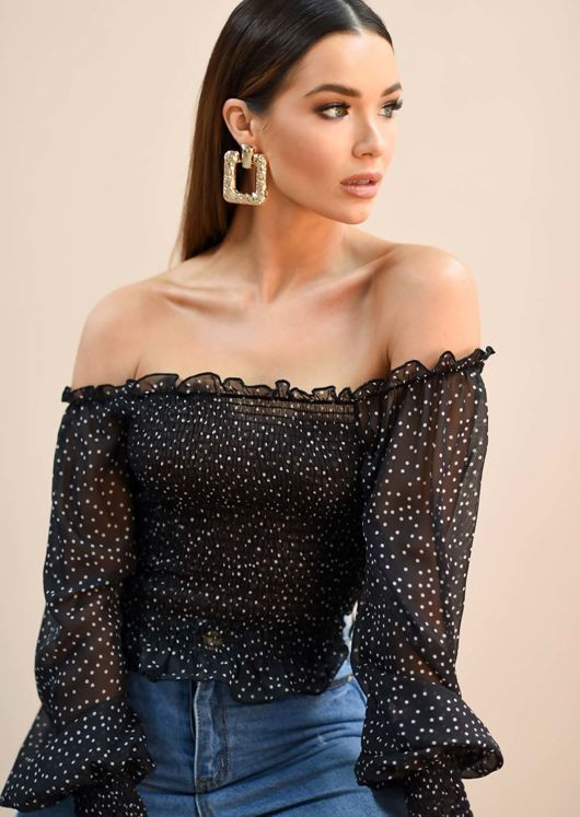 Sheer Polka Dot Shirring Crop Bardot Blouse Top Black