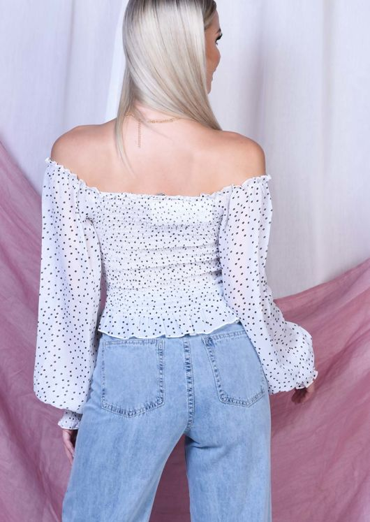 Sheer Polka Dot Shirring Crop Bardot Blouse Top White