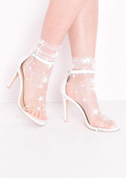 Sheer Star Ankle Socks White