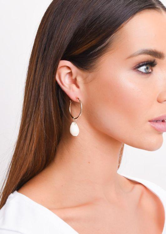 Shell Drop Hoop Earrings Gold